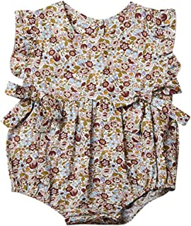 زهرة طفل الفتيات الكشكشة رومبير الصيف الرضع الوليد الطفل بذلة playsuit القوس ملابس الطفل (Color : Yellow, Kid Size : 3-9M)