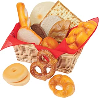 Constructive Playthings 15 Piece Life-Sized Authentic Soft Vinyl International Bread Set in a Fabric Lined 14