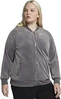 Women's Velour Track Jacket Gunsmoke Metallic Silver AH2853-036