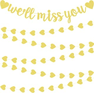 We'll Miss You Banner Decorations Glitter Gold Banners Farewell Banners for Retirement Graduation Going Away Office Work Party (Gold Color)