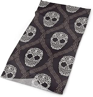 LULABE Black Skull Mask Bandanas Headband Face Mask For Women Men Outdoor Sport For Fishing Cycling Running One Sided Print