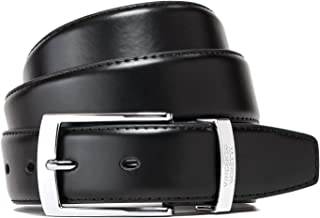 Vincenzo Boretti Cinturón hombre de piel con hebilla plateada, cuero brillante, logotipo de metal