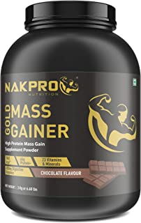 Nakpro Nutrition Gold Mass Gainer Protein Powder Supplement with Digestive Enzymes and Vitamin & Minerals - Chocolate (3 k...