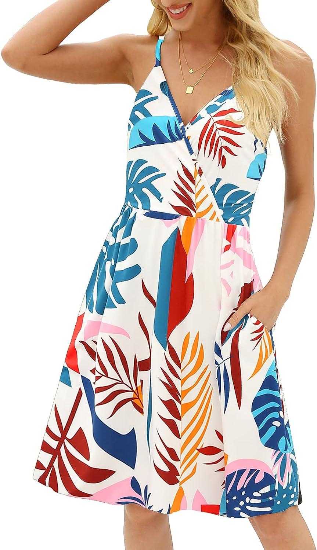 CHERFLY Women's V Neck Summer Dress Sleeveless Flowy Mini Sun Dress with Pockets