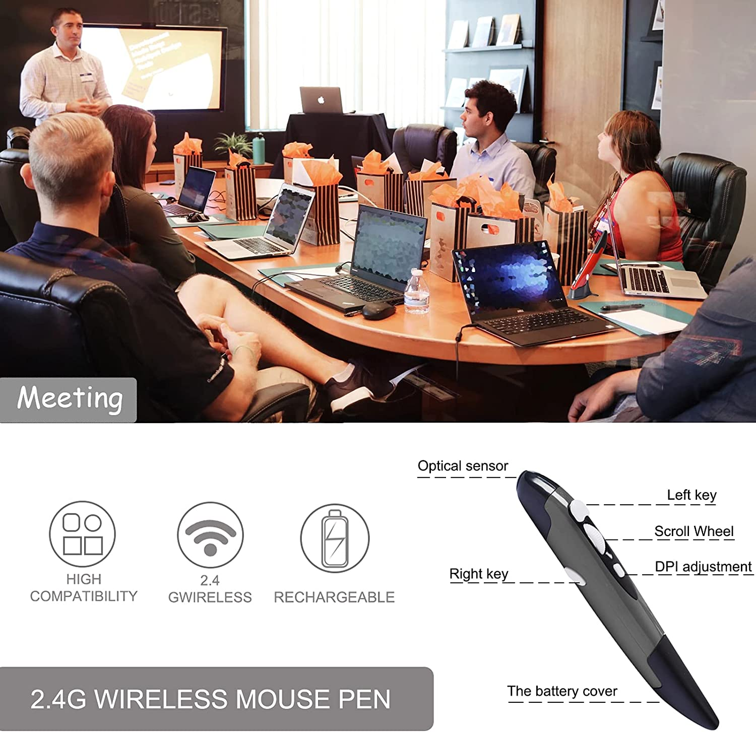 2.4GHz USB Wireless Optical Pen Mouse Smart Mouse for PC Laptop Computer (Grey)