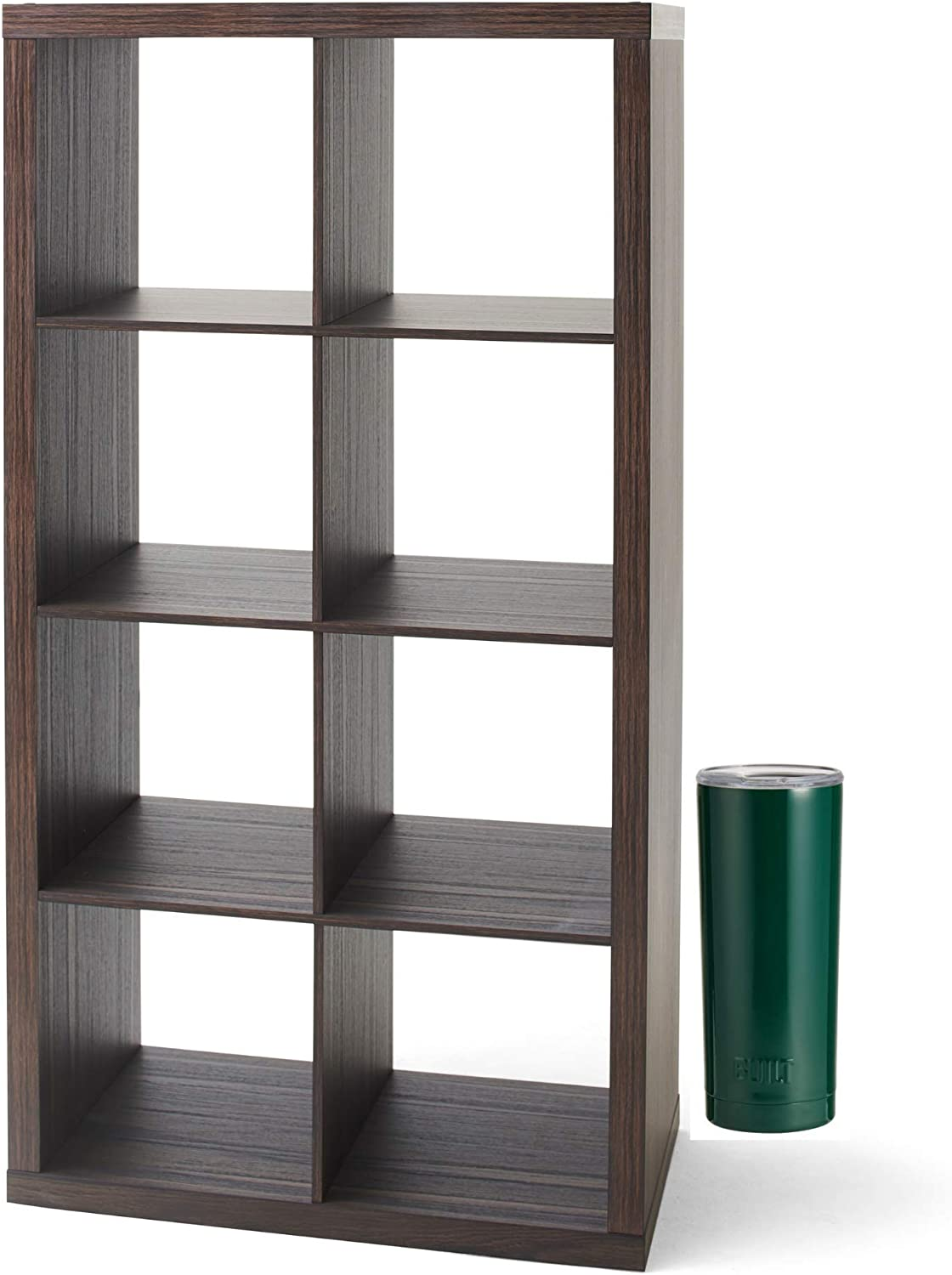 Textured White The Sleek Style of Better Homes and Gardens Home Office Furniture 8-Cube Organizer Storage Bookcase and Insulated Double Wall Tumbler Bundle