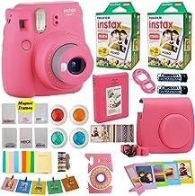 Fujifilm Instax Mini 9 Instant Camera Flamingo Pink + Fuji INSTAX Film (40 Sheets) + Accessories Kit Bundle + Case & Strap + Magnet Frames + Photo Album + Colorful Sticker Frames + Selfie Lens & More