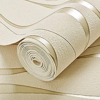 LCTCBZ 3D non-woven buckskin wallpaper, vintage luxury damask wallpaper PVC embossed texture wallpaper roll home decoration cream white wallpaper (Color : A)