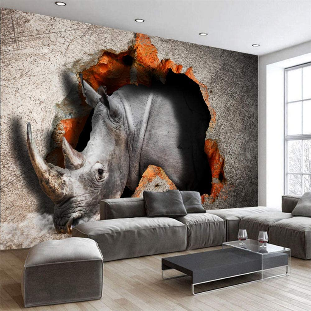 Customize Any Size Perspective Wall Rhinoceros Broken W Max 86% OFF Tucson Mall Painting