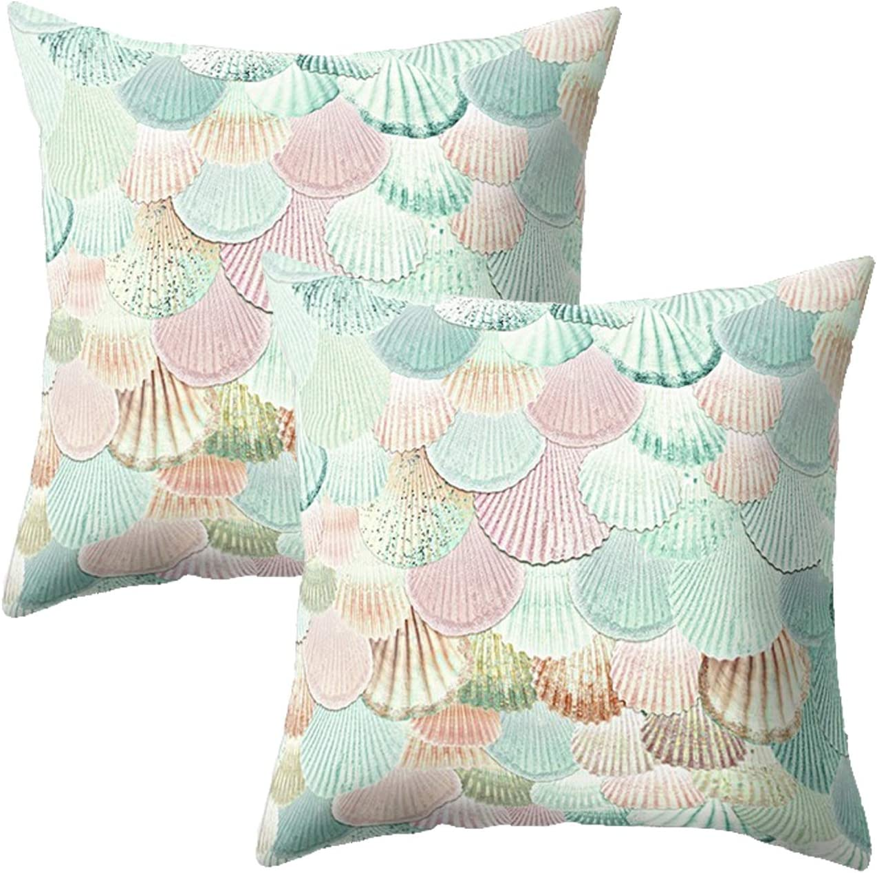 """Treely Mermaid Pillow Cases Decorative Mermaid Scale Throw Pillow Covers Set of 2 Cushion Covers 18"""" x 18"""" for Beach Couch Sofa(Floral Printed Teal-Pink)"""