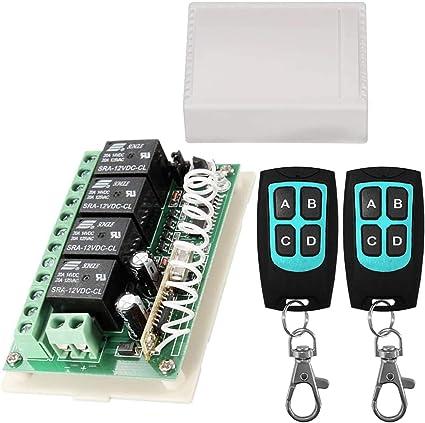 12V Relay Remote Switch Wireless RF Remote Control Switch 4 Channel - 12V Remote Switch