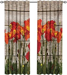 shenglv Rustic, Curtains Light Blocking, Close Line of Poppy Petals Field Meadow Summer Holiday Sun Plant Floral Theme, Curtains Nursery, W72 x L108 Inch, Orange Brown