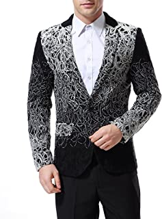 AOWOFS Men's Suits Blazers Slim Fit Floral Single Breasted One Button Casual Woven Blazer Jacket