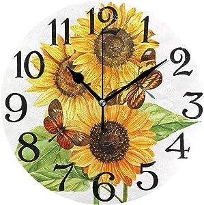 Sunflower Butterfly Kitchen Clock, Round Wall Clock Battery Operated Quartz Quiet 9.5 Inch for Home Kitchen Bathroom Office,School