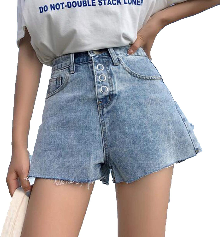 AnAllisonnette High Waist Summer Denim Shorts Women Letter Print Pockets Streetwear
