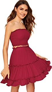 Floerns Women's Two Piece Outfit Smocked Tube Crop Top and Ruffle Skirt Set