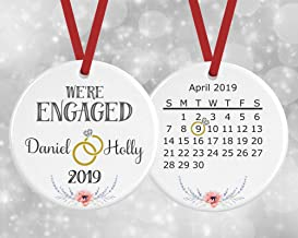 2019 Personalized Engagement Calendar Ornament - Engaged- Pink and Blue Flowers