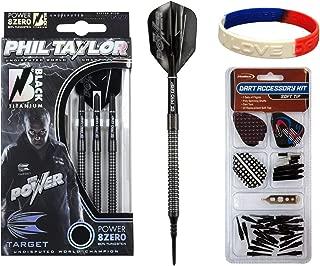 TARGET Phil Taylor Power 8Zero Black P8Z2 Soft Tip Darts - 19g 80% Tungsten Barrels Plus Soft Tip Accessory Kit & Bracelet