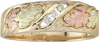 Black Hills Gold Three Stone Mens Diamond Wedding Ring (.06 tw) in 10k Gold