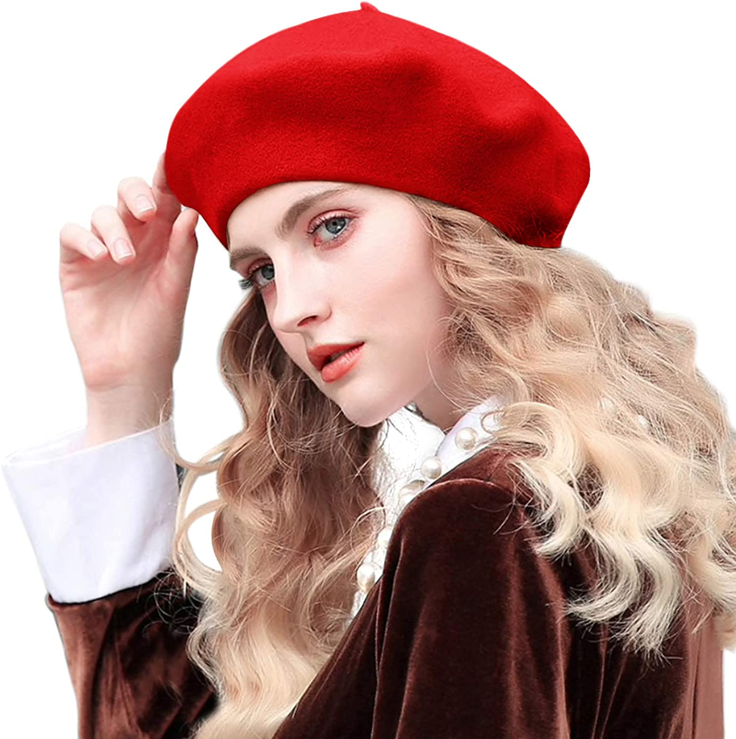 French Beret,Lightweight Casual Classic Wool Beret Solid Color Womens Beret Cap Hat