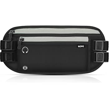 Travel Money Belt WIMI Waist Pack Bumbag Hidden Security Wallet Waterproof RFID Pouch with Headphone Hole for Phone Cards Passports Cash and Keys for Traveling Sports and Daily Use (33 * 14CM, Black)