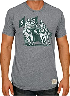 Michigan State Spartans Retro Brand Gray Chariot Logo Tri-Blend T-Shirt