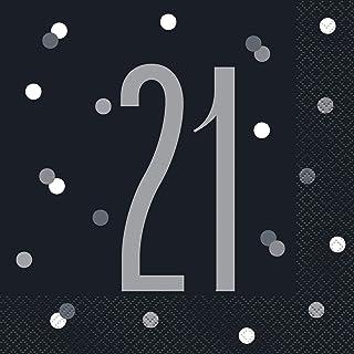 Unique Party 83544 83544-Glitz Black & Silver 21st Birthday Napkins, Pack of 16, Black, Age 21