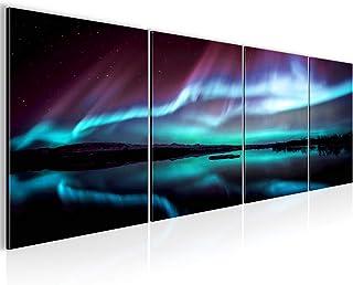 Impression Set Aurore Tableau Decoracion Murale Salon XXL 160 x 50 cm Turquoise Pourpre Moderne 6091b