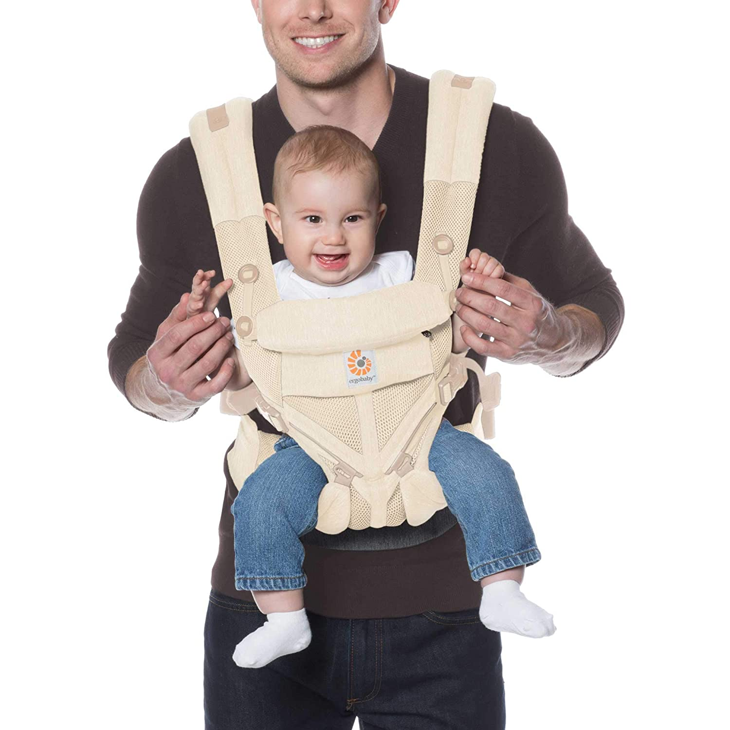 Ergobaby Omni 360 All-Position Baby Carrier for Newborn to Toddler with Lumbar Support & Cool Air Mesh (7-45 Lb), Natural Weave
