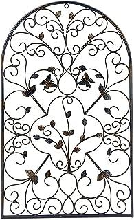 Bellaa 23196 Spanish Architectural Pattern Metal Wall Art Garden Plaque Butterfly 31 inch