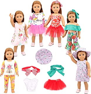 """BARWA 13 PCS 18 inch Doll Clothes Accessories for American 18"""" Doll - Popular Tutu Dresses, Strapless Clothes, Pajamas (Include Hairband,Hat,Briefs)"""