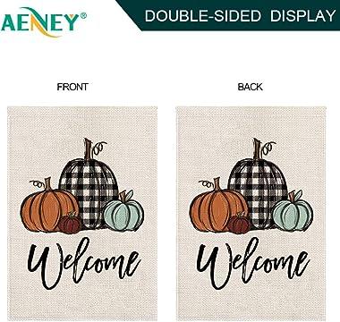 AENEY Fall Pumpkin Garden Flag 12.5 x 18 Inch Vertical Double Sided, Buffalo Check Plaid Fall Small Garden Flag, Fall Yard Ou