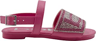 bebe Girls' Big Kid Slip-On Rhinestone Strap Sandals, Open-Toe Flat Fashion Summer Shoes