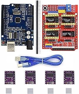 Morismoon 4 x DRV8255 Stepper Motor Driver con Fregadero de Calor + UNO R3 Board + CNC Shield Expansión Junta Compatible con Arduino 3D Printer Diy Kit