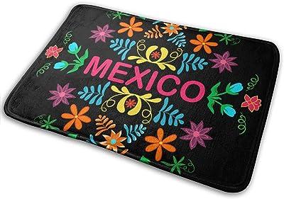 """Mexico Flowers Elements Traditional Mexican Abstract Indoor Doormat Front Back Door Mat,23.6""""x15.8"""" Mat Non Slip Large Door Rug"""