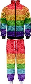 HoneyStore Pride Month LGBT Tracksuit Rainbow Jacket Gay Lesbian Flag Pants Set