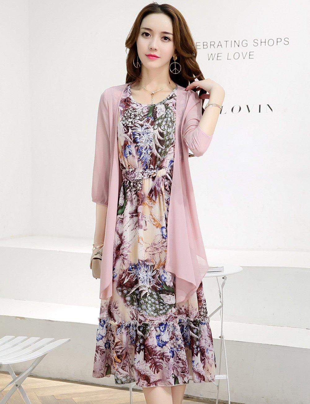 Fanru 梵如 女式 春季新款裙子女韩版修身印花两件套套装雪纺长袖连衣裙夏女中长款 F531-A801