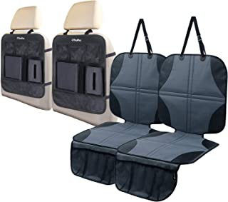 Ohuhu 4 Packs Baby Child Car Seat Protectors and Kick Mat Car Back Seat Cover - 2 Sets Auto Seat Cover for Carseats and Kids Kick Mats with Backseat Organizer