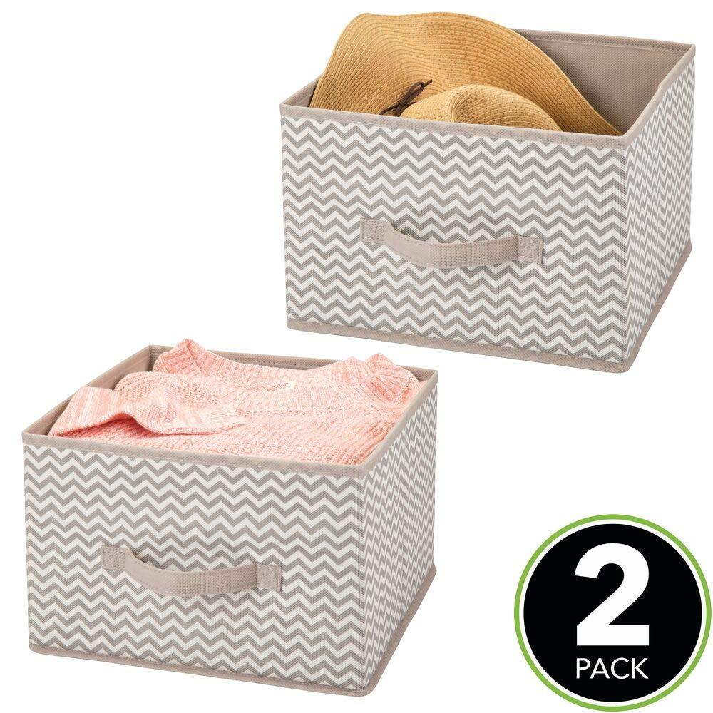 mDesign Juego de 2 organizadores para armarios de tela – Cajas de tela para ordenar armarios – Cajas organizadoras para ropa, mantas y otros accesorios – gris topo/crudo: Amazon.es: Hogar