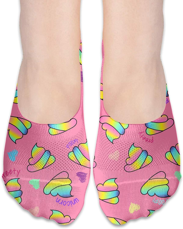 Rainbow Poop Baby Pink Comfortable Boat Socks-Sweat Wicking Non-Slip Socks Leisure Sports Deodorant Foot Socks