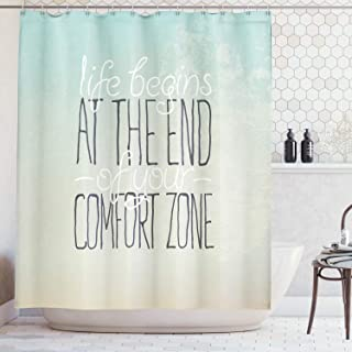 Ambesonne Lifestyle Shower Curtain, Motivational Life Begins at The End of Your Comfort Zone Words Concept Print, Cloth Fabric Bathroom Decor Set with Hooks, 70