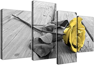 Yellow Grey Rose Flower Black White Floral Canvas - Split 4 Part - 51 Inches Wide,4 Panel Canvas Prints Artwork Modern Paintings Wall Art Home Decoration Stretched and Framed Ready to Hang