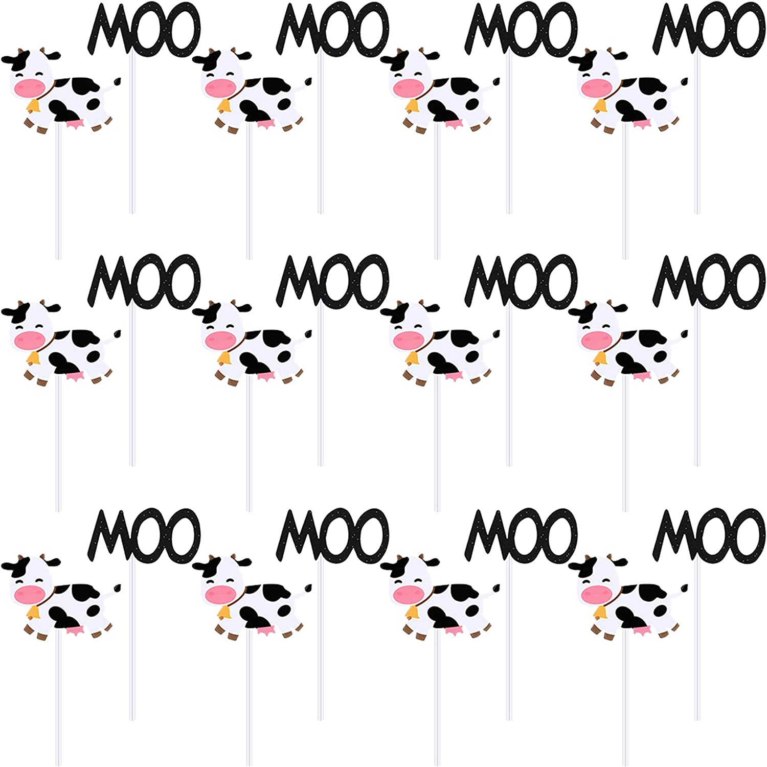 Fainne 72 Pieces Cow Cupcake Toppers MOO Cake Decorations Animal Farm Themed Cupcake Topper Pick for Kids Boy Girl Birthday Party Supplies