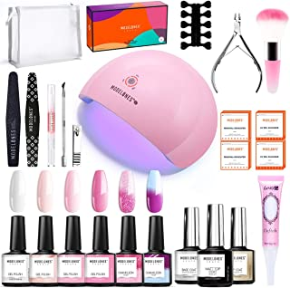 Modelones Gel Nail Polish Kit with UV Light- 4 Pink Colors and 2 Temperature Color Changing Gel Matte Top Coat, Base Top C...