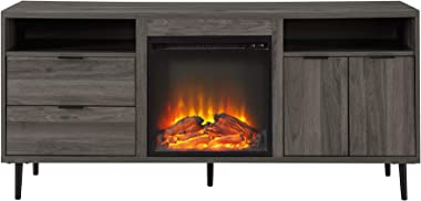 """Walker Edison Modern Wood Fireplace Stand with Cabinet Doors and Drawers 65"""" Flat Screen Universal TV Console Living Room"""