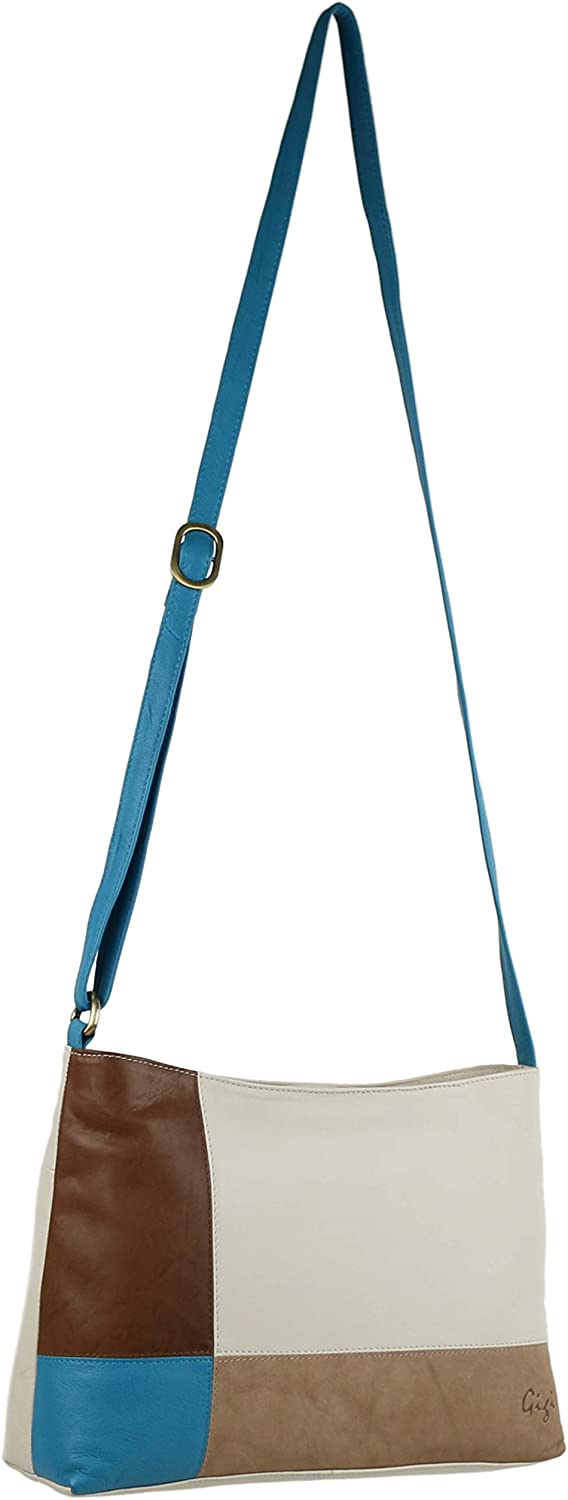 GIGI Women's Leather Shoulder Messenger Bag OneSize Turquoise Mix