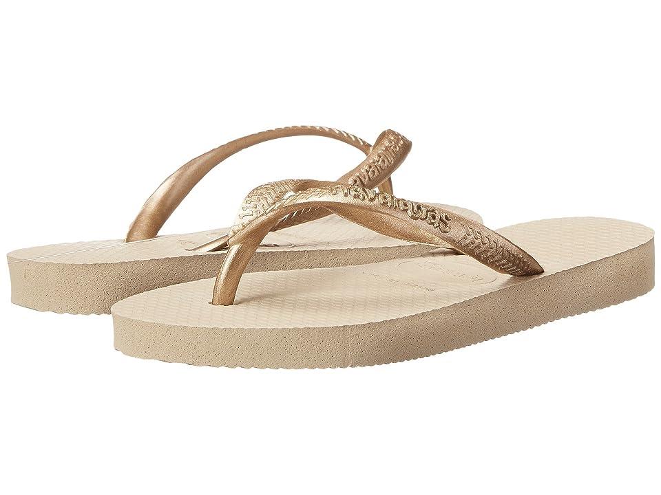 Havaianas Kids Slim Flip Flops (Toddler/Little Kid/Big Kid) (Sand Grey/Light Gold) Girls Shoes