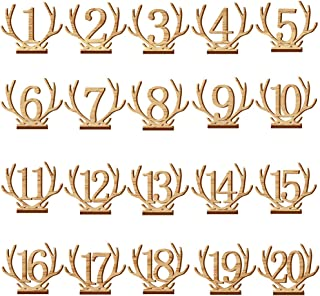 Finance Plan Clearance Sale Creative Hollowed Antler Numbers Wooden Decoration Wedding Table Plate Sign