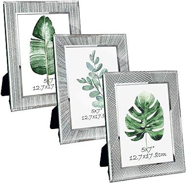 ZBEIVAN 5x7 Picture Frames 3-Pack Ornament Sparkling Glass Silver Glittery Mirrored Edge Vertical Horizontal Desk Tabletop St