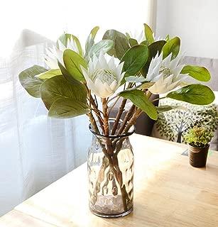 Skyseen 3PCS Artificial Flowers Protea Cynaroides Simulation King Protea for Home Decor,White